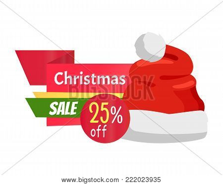 Christmas sale 25 off promo label with Santa Claus hat advertisement badge with red winter headwear icon and information about discounts vector