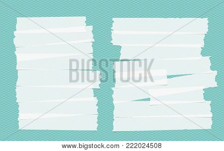 White different size adhesive, sticky, masking, duct tape, paper pieces on turquoise squared background