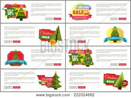 Set of Christmas sale super choice half cost cards vector illustration with multicolored stickers, text sample, New Year trees, isolated on white