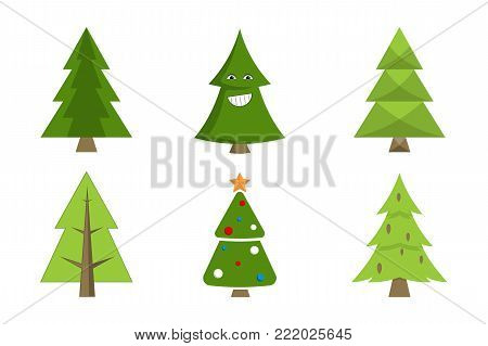 Christmas tree collection of spruce icons with decorative elements, emoji pines with cones, forest fir-trees vector illustration promo poster isolated