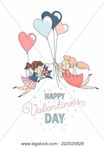 Happy Valentine's Day greeting card Cute funny gay couple, homosexual female couple in love romantic characters flying heart shape balloons. Flat line design. Vector illustration.