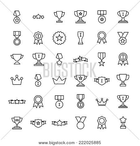 Set of premium award icons in line style. High quality outline symbol collection of achievement. Modern linear pictogram pack of cup. Stroke vector illustration on a white background.