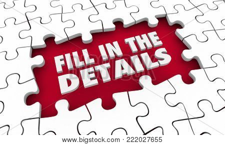 Fill in the Details Puzzle Words Finish Complete 3d Illustration