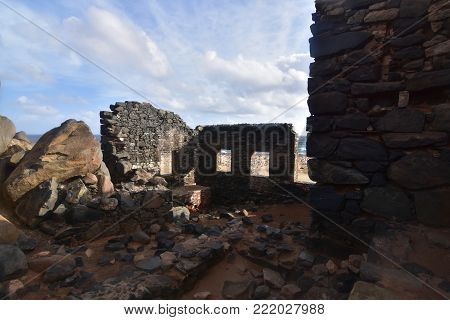 Large ancient gold mill ruins off the coast of Aruba