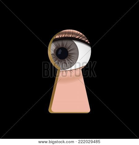 Brown eyes in the keyhole. Curious man spy vector illustration.