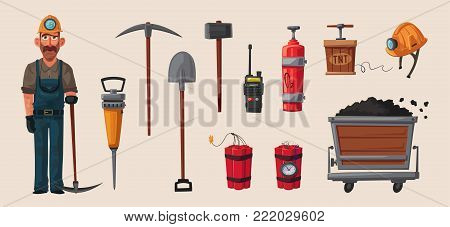 Set of mining tools. Worker's inventory. Cartoon vector illustration. Coal mining theme. Hard work.