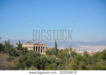Athens ancient Greek Agora with Hephaistos theatre and city landscape, Greece.
