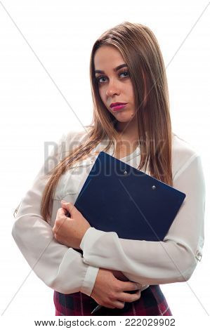 Woman interviewer. Charming young woman looks at the camera and holds folder with papers and pen to poll the public. Place for text