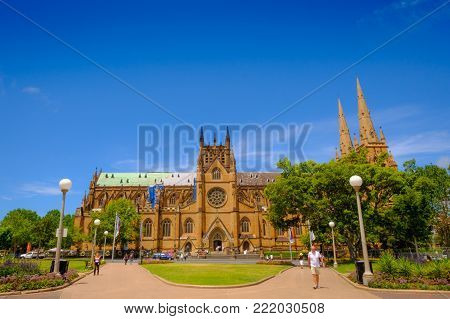 Sydney Australia Landmark At St Andrew's Cathedral From Hyde Park, Sydney.