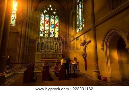 Interior And Light Coming Inside In St. Andrew's Cathedral Is One Of Sydney's Finest Examples Of Got
