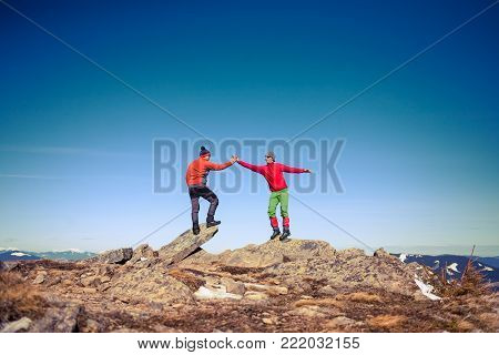 Two Climbers On Top.