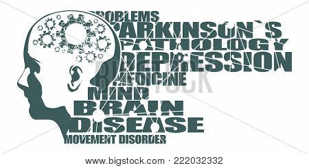 Abstract illustration of a human head. Woman face silhouette. Medical theme creative concept. Parkinsons syndrome disease tags cloud. Damaged gears in brain as symbol of mental disease