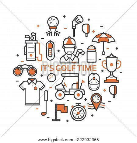 Golf icons set in line art style. Golf club concept pattern with ball, golfer, bag, umbrella and other elements and accessories stylized in circle. Print or card in outline design.