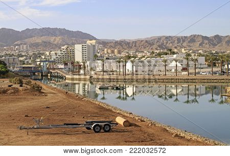 the lagoon in city Eilat, the southern Israel