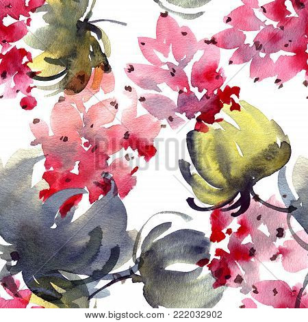 Watercolor and ink illustration of flowers and leaves. Sumi-e, u-sin painting. Seamless pattern.