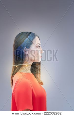 Free thinking. Concentrated brunette earnest woman looking straight while acting for  progress and  thinking