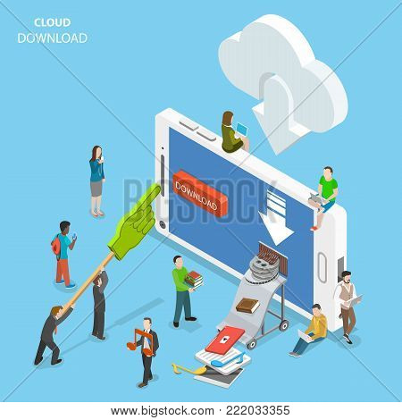 Cloud download flat isometric vector. People are downloading some content like video, music, books, films, documents, from the cloud to the smartphone by pushing corresponding button on its screen.