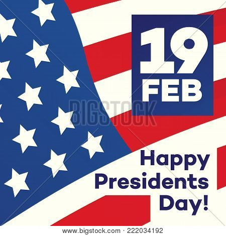 Happy president day greeting card with american flag background for banner sale, promotion, party poster, stamp, label, tag, decoration, quote, special offer. Vector Illustration