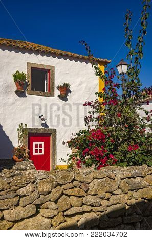 Detail of typical portuguese house with traditional architecture and decorations
