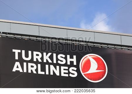 Billund, Denmark - December 29 2017: Turkish airlines logo on a wall. Turkish airlines is the national flag carrier airline of Turkey
