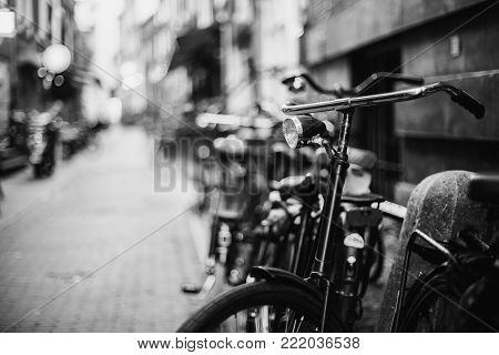 A stroll through the streets of Amsterdam.Black and white art monochrome photography. Black and white creative photography. Black and white conceptual image. Beautiful black and white background.