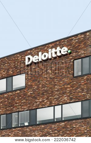 Odense, Denmark - August 17, 2017: Deloitte building in Odense, Denmark. Deloitte is one of the Big Four accounting firms and the largest professional services network in the world by revenue