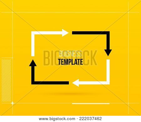 Rectangle cycle template with four segments in elegant techno style.