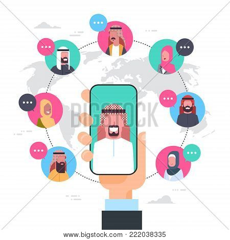 Arab Man Hand Holding Smart Phone Network Communication Concept Group Of Arabic People Connection Over World Map Background Flat Vector Illustration