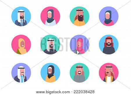 Arabic Profile Avatar Icon Set Arab Men And Women, Portrait Muslim Face Collection Flat Vector Illustration