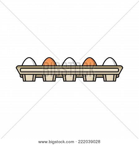 vector flat chicken hen brown, white eggs in cardboard egg box isolated icon. Illustration on a white background. Farm poultry chicken objects for advertising, poster design