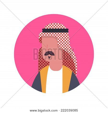 Arabic Man Profile Avatar Icon Arab Businessman, Portrait Muslim Male Face Flat Vector Illustration