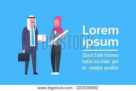 Arabic Man And Woman Full Length Arab Business People Couple Flat Vector Illustration