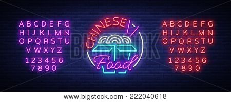Chinese food logo in neon style. Neon sign, bright nightlight. Bright neon advertising on the theme of Chinese and Asian food, for restaurant, dining room. Vector illustration. Editing text neon sign.