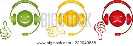 Male and headset, face and hand, rating logo