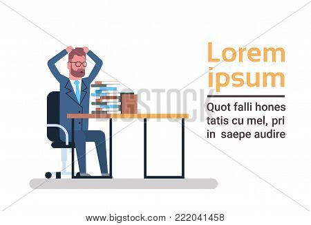 Confused Business Man Look At Stack Of Papers Holding Head Overloaded And Tired Businessman Paperwork Concept Flat Vector Illustration