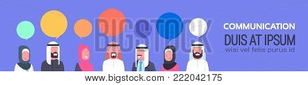 Group Of Arabic People With Chat Bubbles Communication Concept Arab Business Men And Women Template Horizontal Banner With Copy Space Flat Vector Illustration