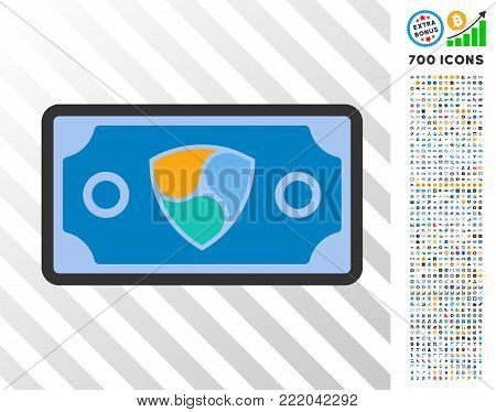 Nem Bank Bill icon with 7 hundred bonus bitcoin mining and blockchain graphic icons. Vector illustration style is flat iconic symbols design for bitcoin software.