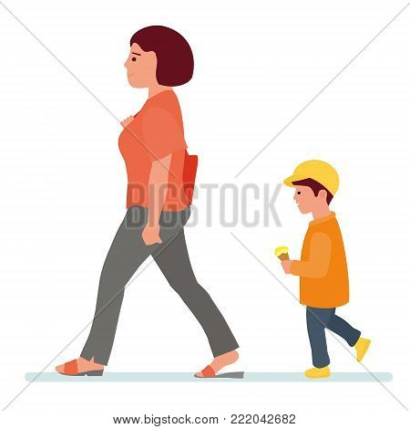 Summer holidays, the mother is with the child, child eating ice cream, children and people concept - happy family eating ice cream. Vector flat cartoon illustration. People in the Park