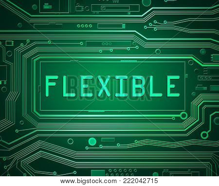3d abstract style illustration depicting printed circuit board components with a flexible concept.