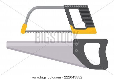 Tools. Hacksaw isolated on white background. Flat vector illustration.