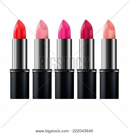 Set of color lipsticks. Red lipstick, pink lipstick, orange lipstick, wine lipstick.Red lipstick set isolated on white background, RGB vector created with gradient mesh