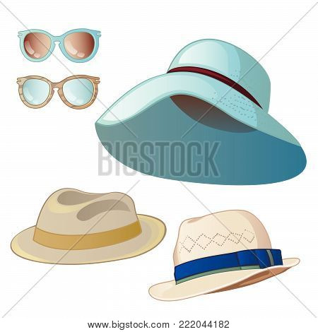Set women's and men's hats. Sunglasses isolated on a white background. Cartoon vector close-up illustration.