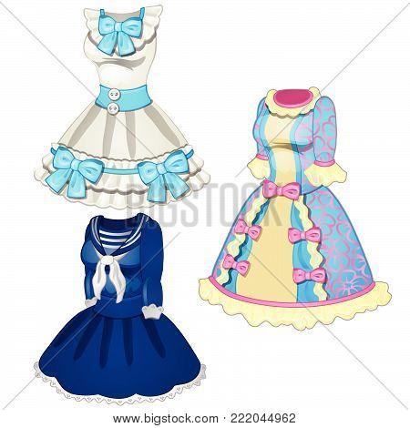 Three dresses in retro style. Cartoon vector illustration close-up.