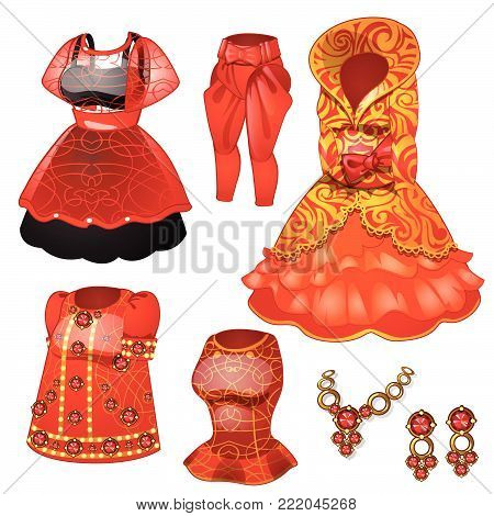 Red dress and jewelry in retro style. Cartoon vector illustration close-up.