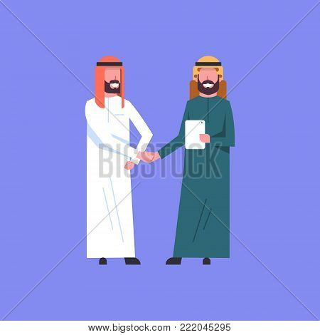 Two Arab Businessman Handshake Arabic Business Man Shaking Hands Agreement Concept Flat Vector Illustration