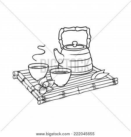 Chinese, Japanese teapot and teacups on bamboo trivet, tray, platter, cartoon vector illustration on white background. Teapot and teacups, pots and cups on bamboo tray, Chinese, Japanese tea ceremony