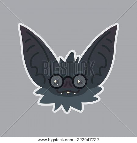 Bat sticker. Emoji. Vector illustration of cute Halloween bat vampire shows nerd emotion. Education. Isolated emoticon icon with sublayer. Bat-eared grey creatures snout in glasses. Print