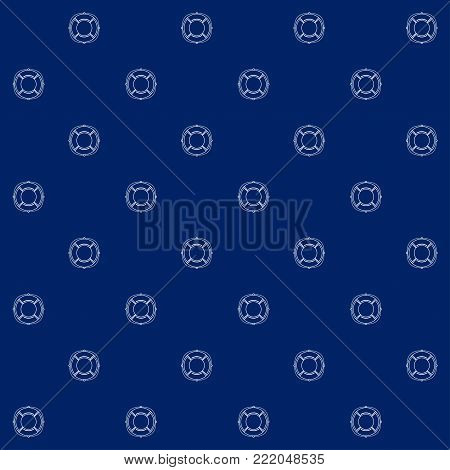 White Lifebuoy on Blue Background, Seamless Sea Travel Pattern, Line Style Design, Illustration