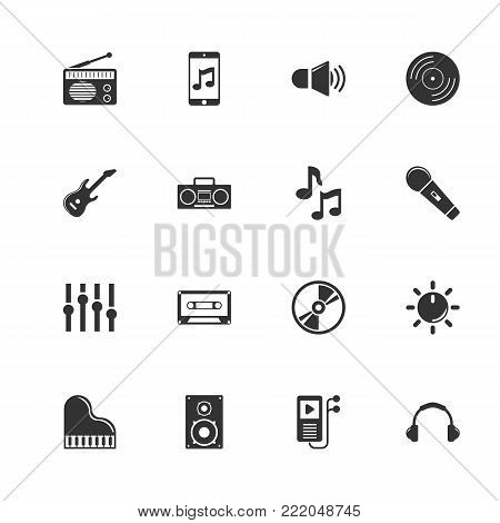 Music icons. Perfect black pictogram on white background. Flat simple vector icon.