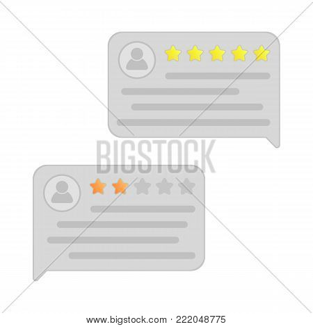 User reviews. Feedback. Testimonial messages. Review rating in speech bubbles. Good and bad rate. Illustration in flat style.